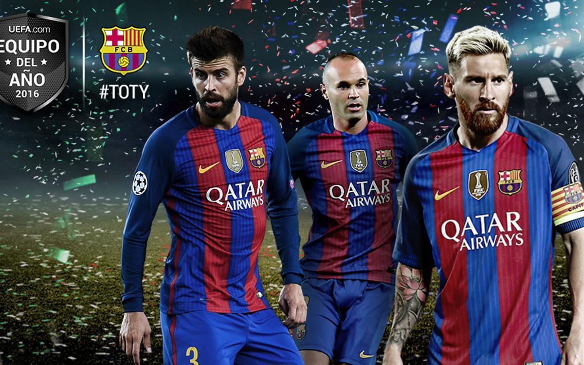 Gerard Piqué, Andrés Iniesta y Leo Messi, en el once del año de la UEFA