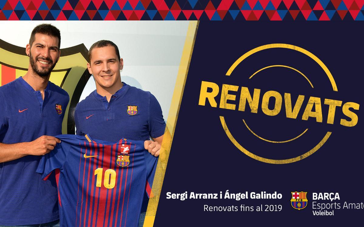 Sergi Arranz i Ángel Galindo renoven amb el Barça de voleibol