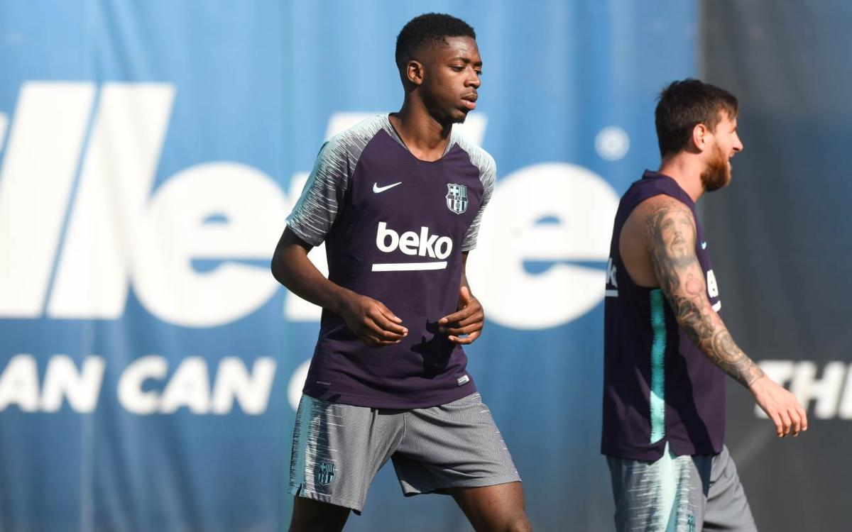 Dembélé the new face in training
