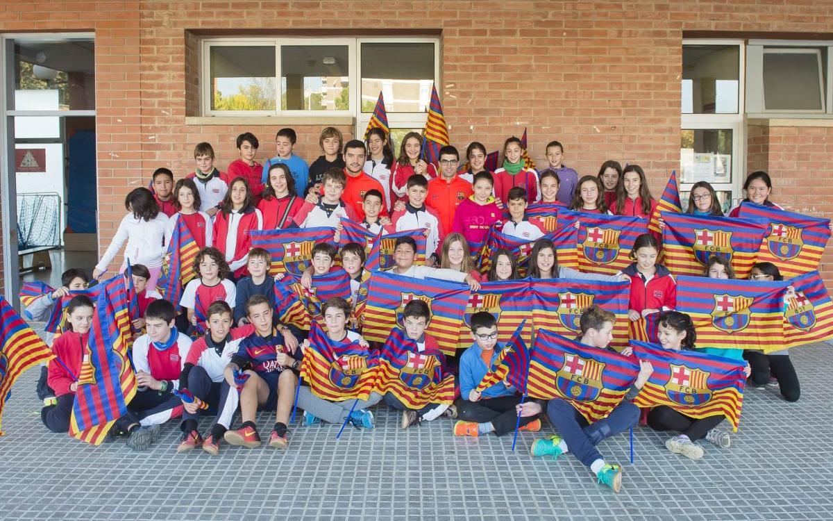 Marc Gual y Pau Bargalló visitan la escuela Cristòfor Mestre de Vilafranca