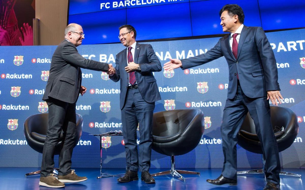 Bartomeu, Arroyo y Mikitani valoran el acuerdo con Rakuten