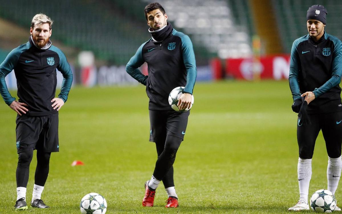 FC Barcelona train at Celtic Park