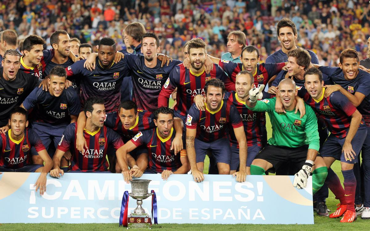 Barça are crowned 2013/14 Spanish Super Cup champions thanks to a Neymar Jr goal in the first leg away to draw 1-1 against Atlético Madrid. Tied 0-0 at Camp Nou