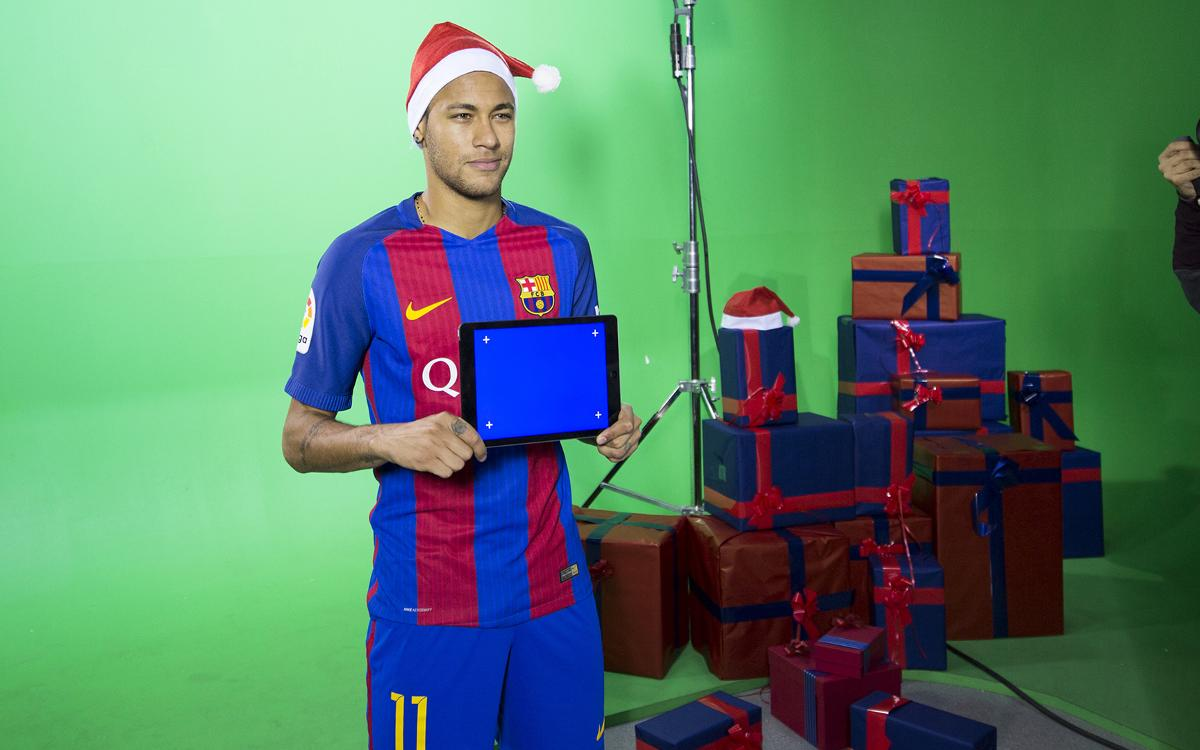 FC Barcelona's first team players in the Christmas spirit