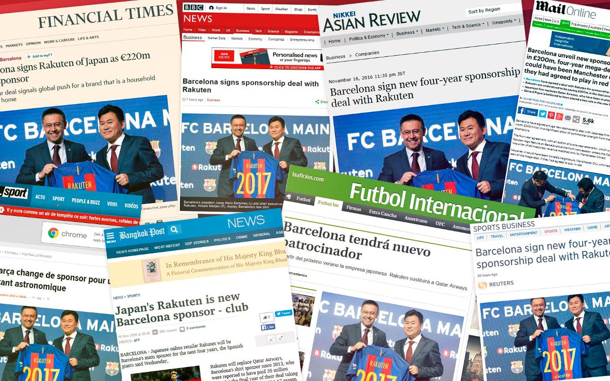 International press reacts to FC Barcelona's sponsorship deal with Rakuten