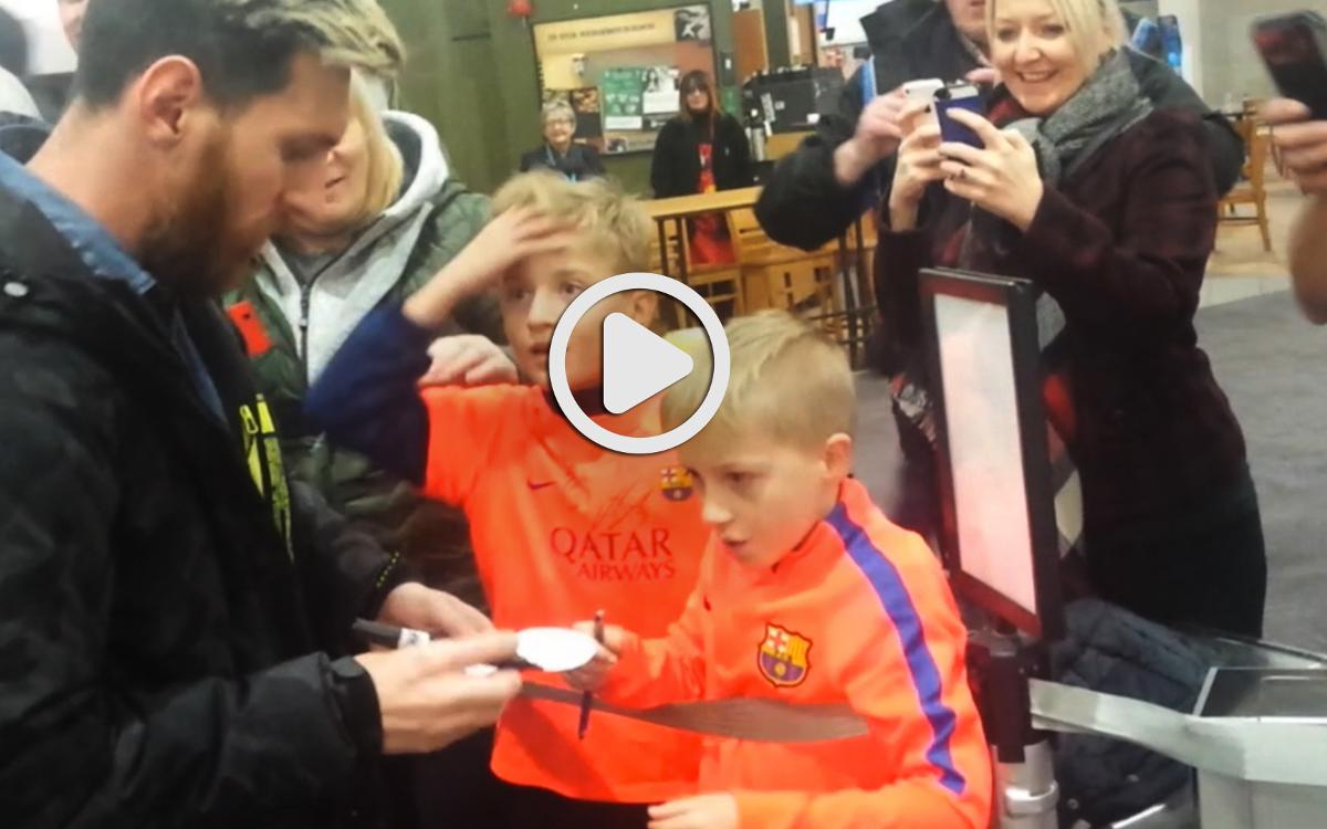 Faces of joy in Glasgow as FC Barcelona players meet two young fans