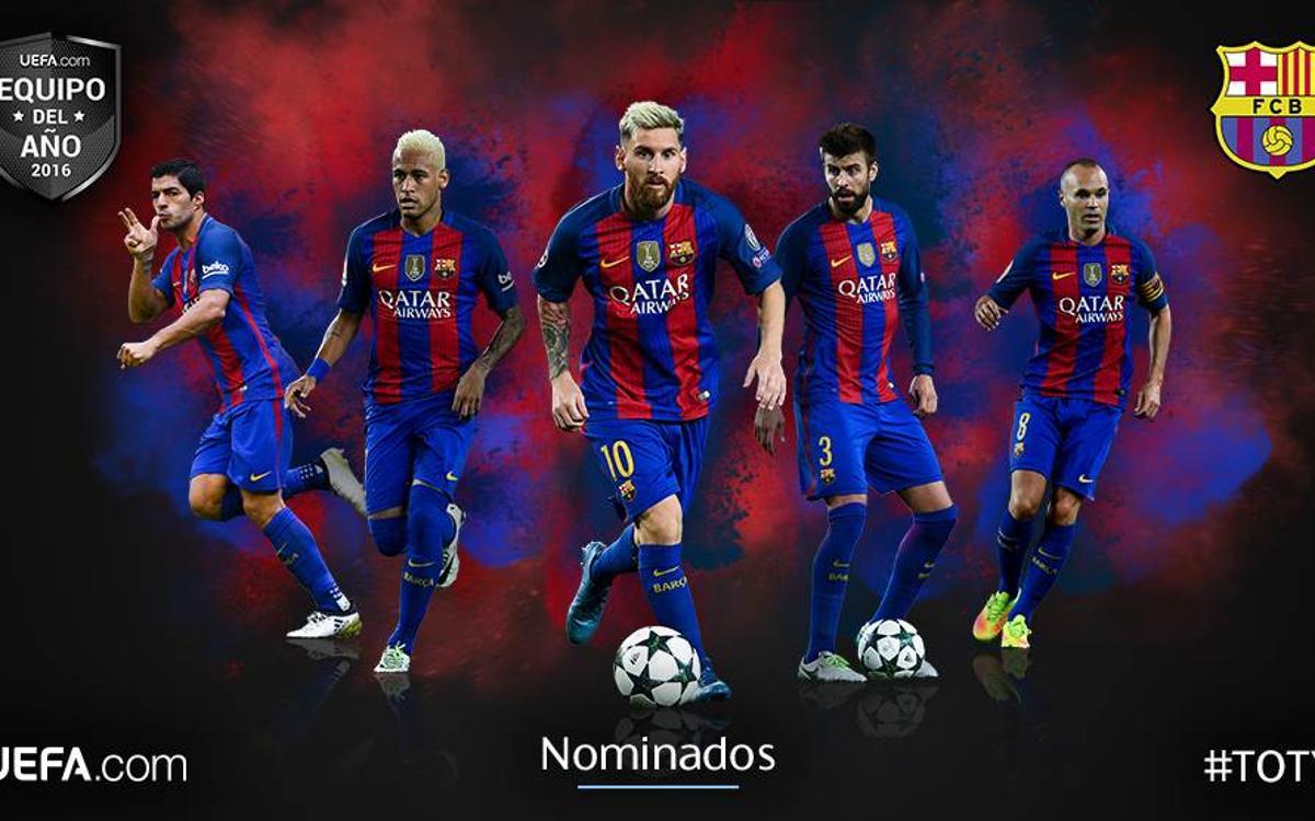 Leo Messi, Andrés Iniesta, Neymar Jr, Luis Suárez i Gerard Piqué, candidats a l'Equip de l'Any de la UEFA 2016