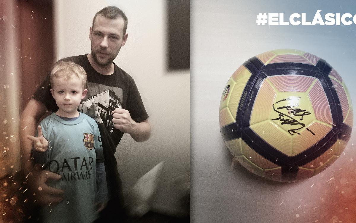 Ya se conoce el ganador de la pelota firmada por Luis Suárez con la que se jugó # ElClásico