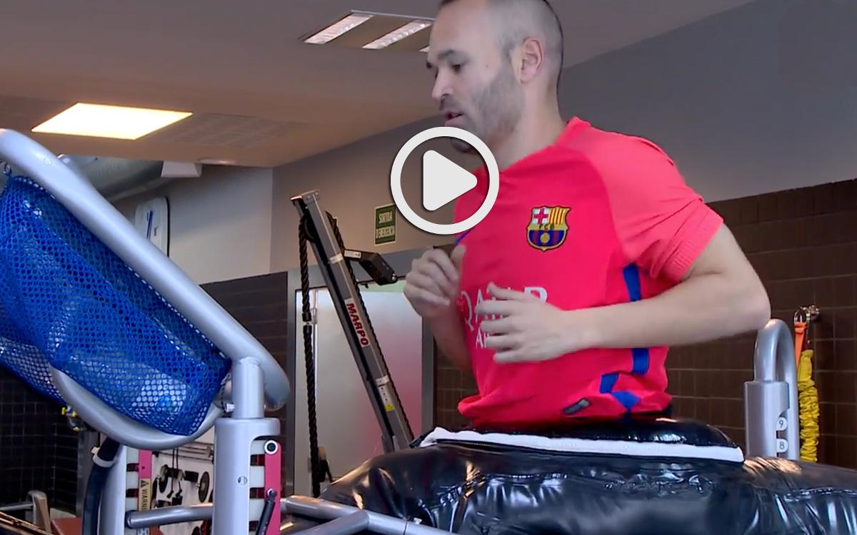 VIDEO: FC Barcelona's Andrés Iniesta on the road to recovery