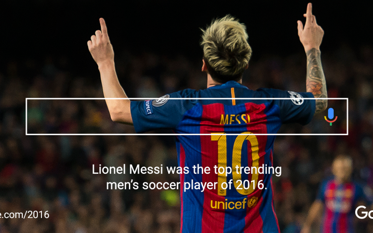 Google Year-In-Search names FC Barcelona's Lionel Messi and Neymar Jr the Top Trending Men's Soccer Players for 2016