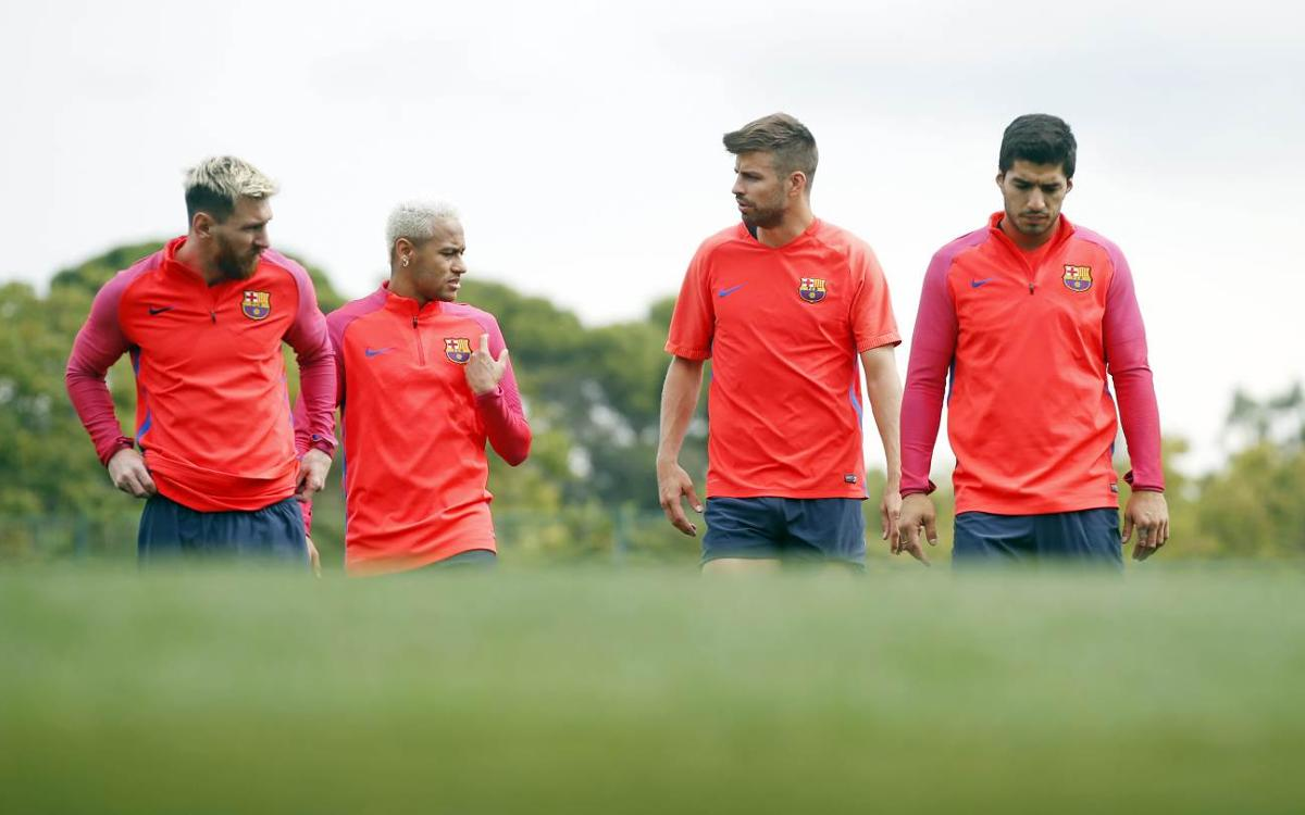Final FC Barcelona training session before facing Atlético Madrid