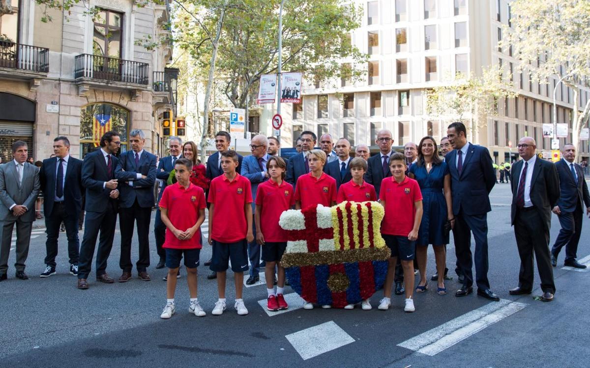 La Agrupación con el FC Barcelona en los actos de la Diada Nacional