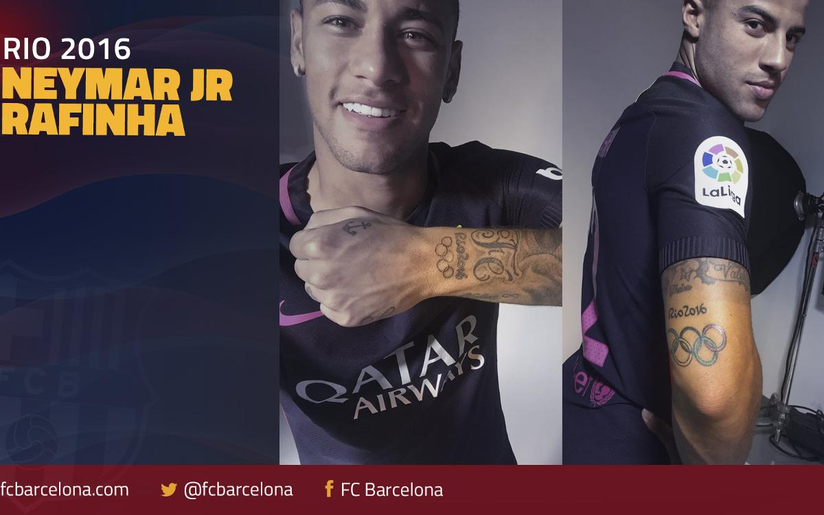 Neymar Jr and Rafinha get tattoos commemorating their Olympic achievements