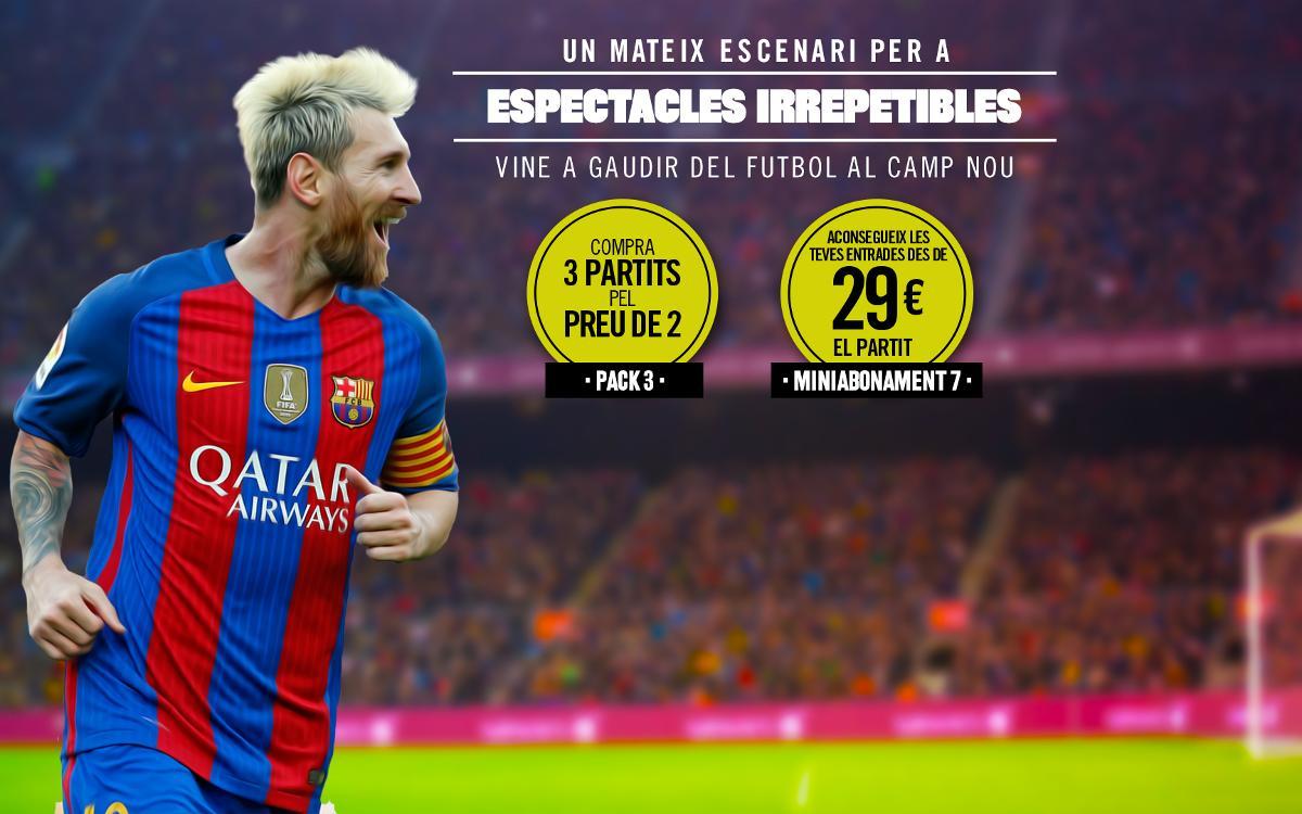 La venda de 'packs' d'entrades per al Camp Nou s'obre a tots els aficionats