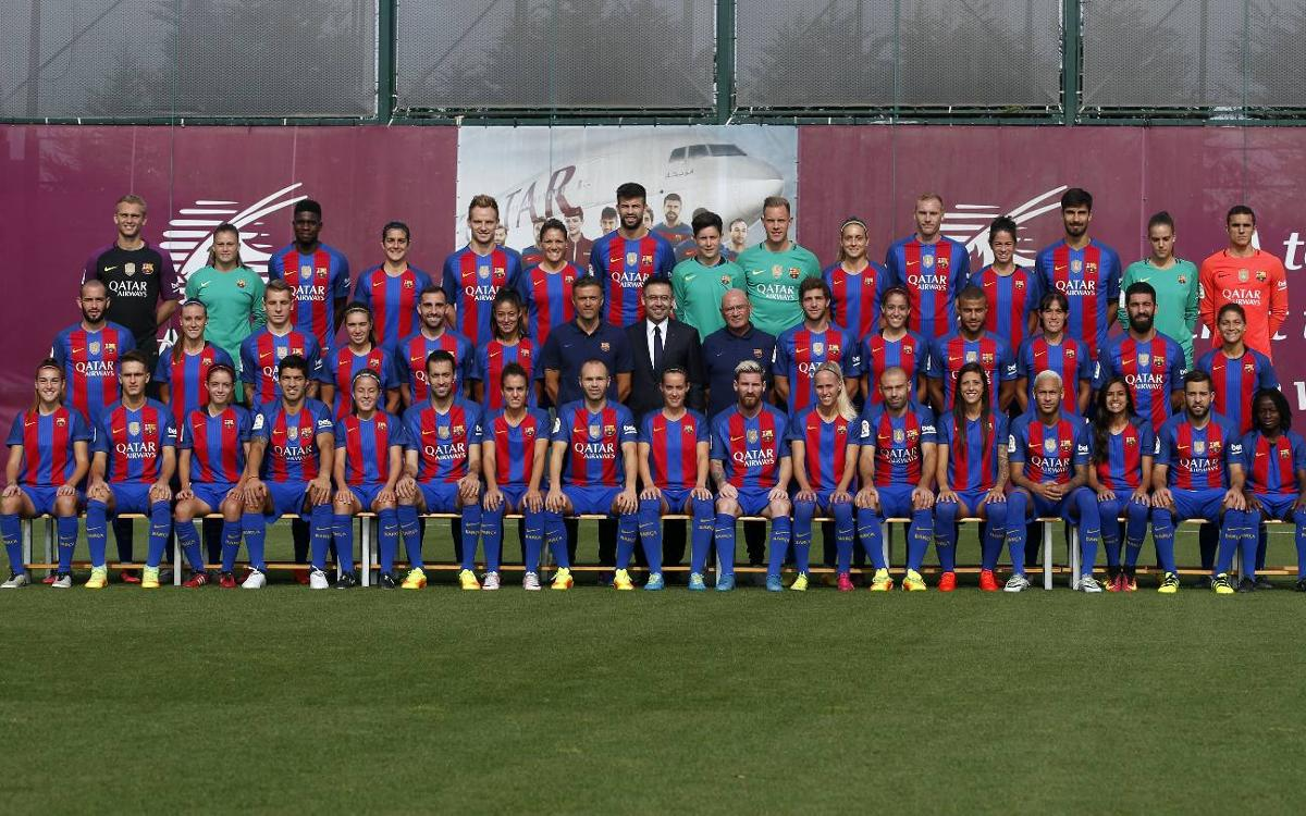 FC Barcelona's men's and women's first teams pose together for official photo