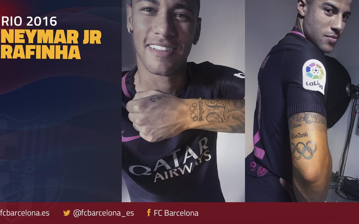 Neymar Jr y Rafinha con el oro en la piel