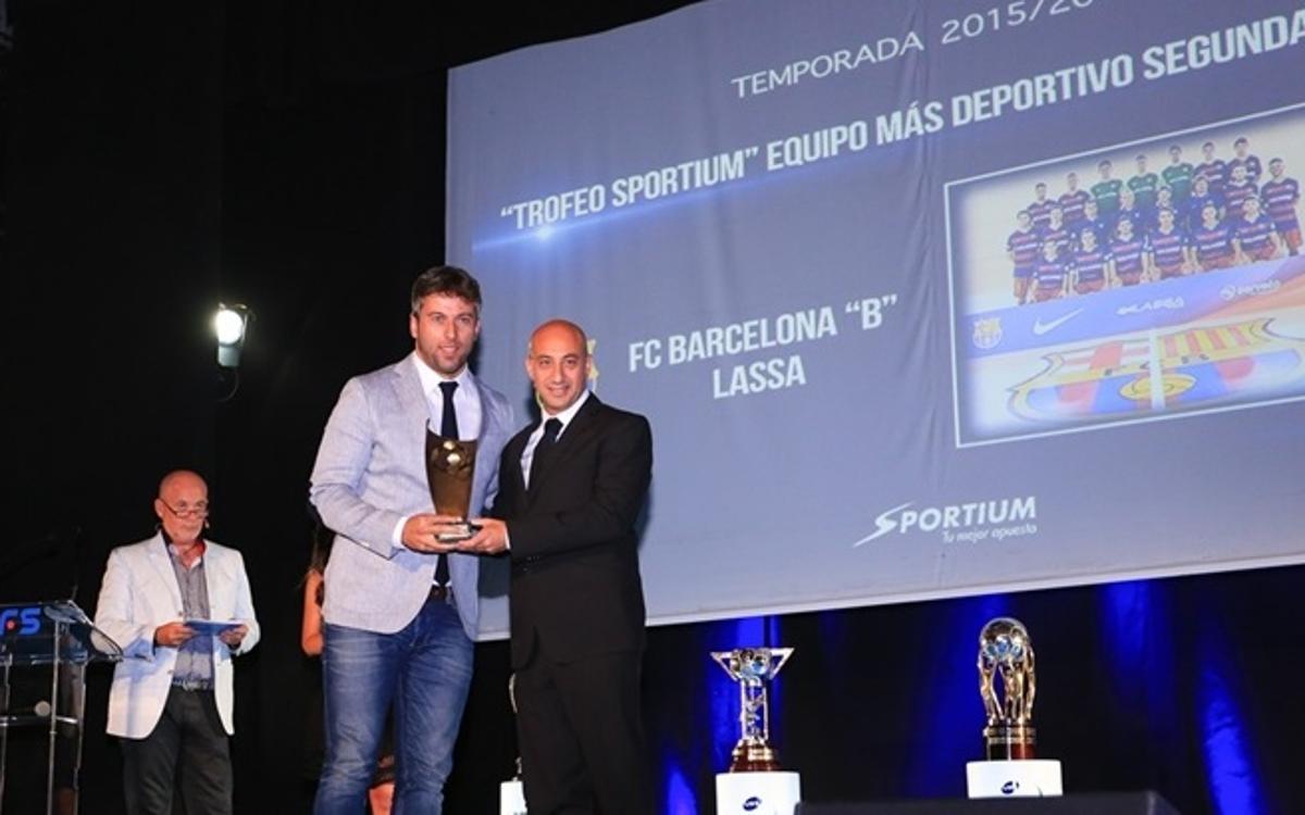 Paco Sedano i el Barça B, guardonats a la gala de la LNFS