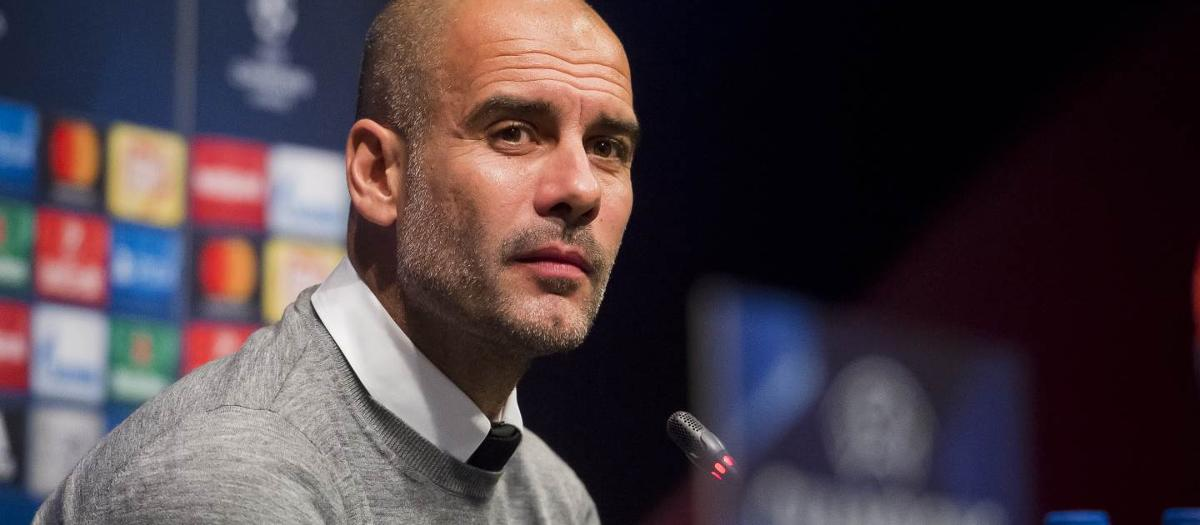 Pep Guardiola during the press conference prior to Barça v Manchester City