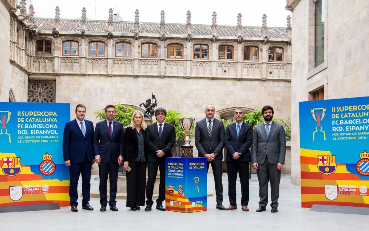 Josep Maria Bartomeu, a la presentació de la Supercopa de Catalunya al Palau de la Generalitat