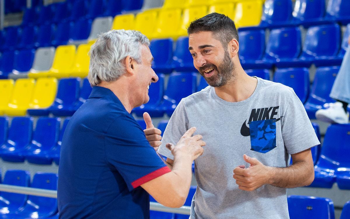 Juan Carlos Navarro, present a l'entrenament del primer equip