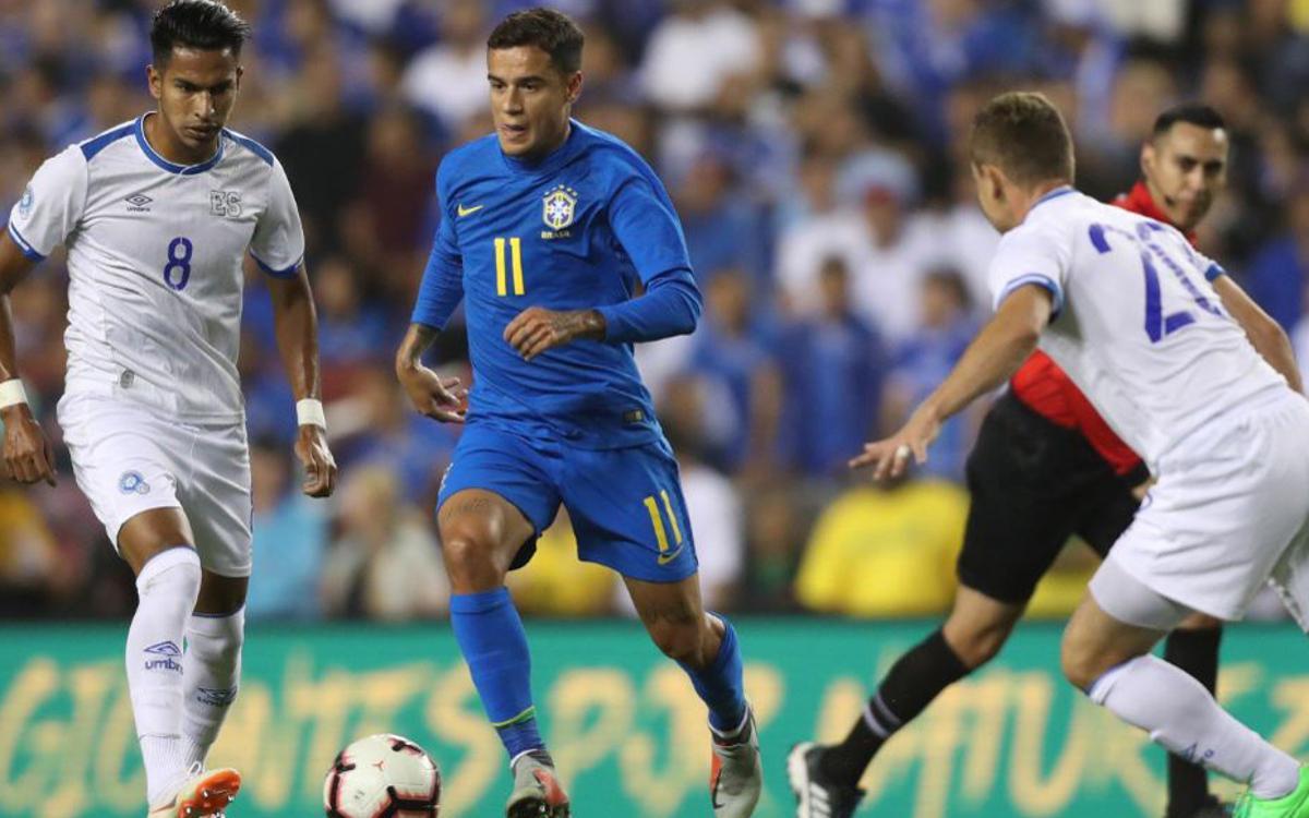 Gol de Coutinho en el triomf del Brasil