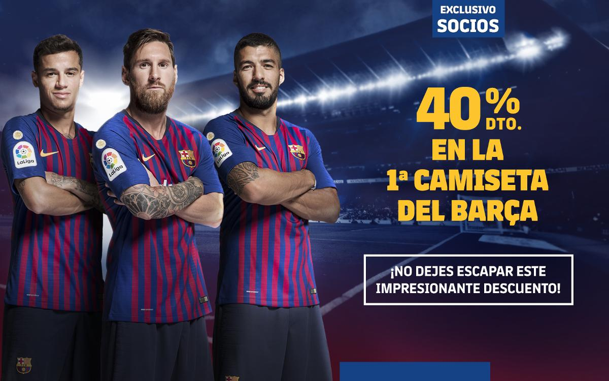 Descuento exclusivo del 40% en la compra de la primera camiseta del Barça