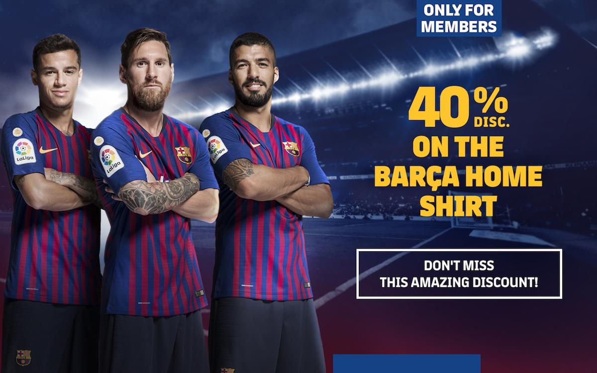 Exclusive, 40% members-only discount on the purchase of a new Barça home blaugrana jersey