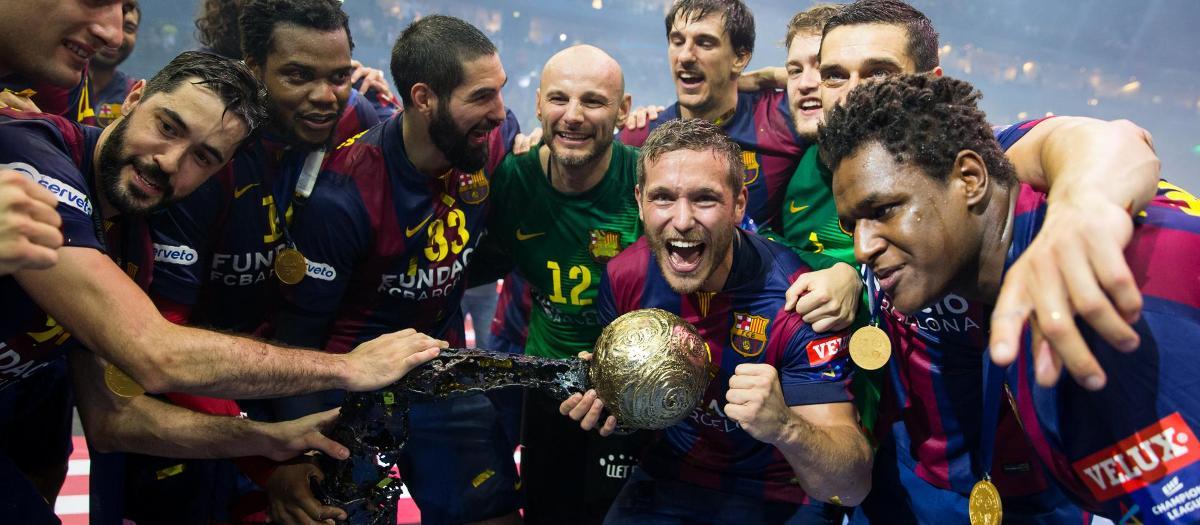 El Barça de balonmano celebra la Champions ganada en 2015