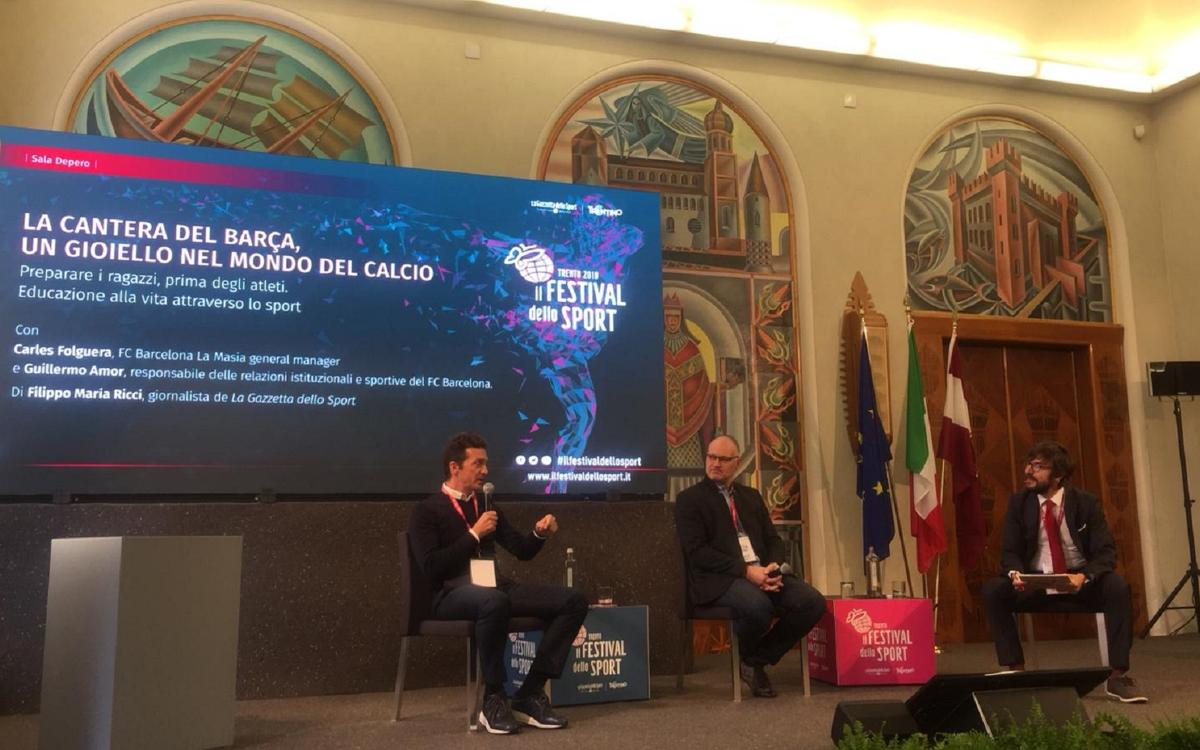 Guillermo Amor and Carles Folguera explain La Masia at 'Festival dello Sport'