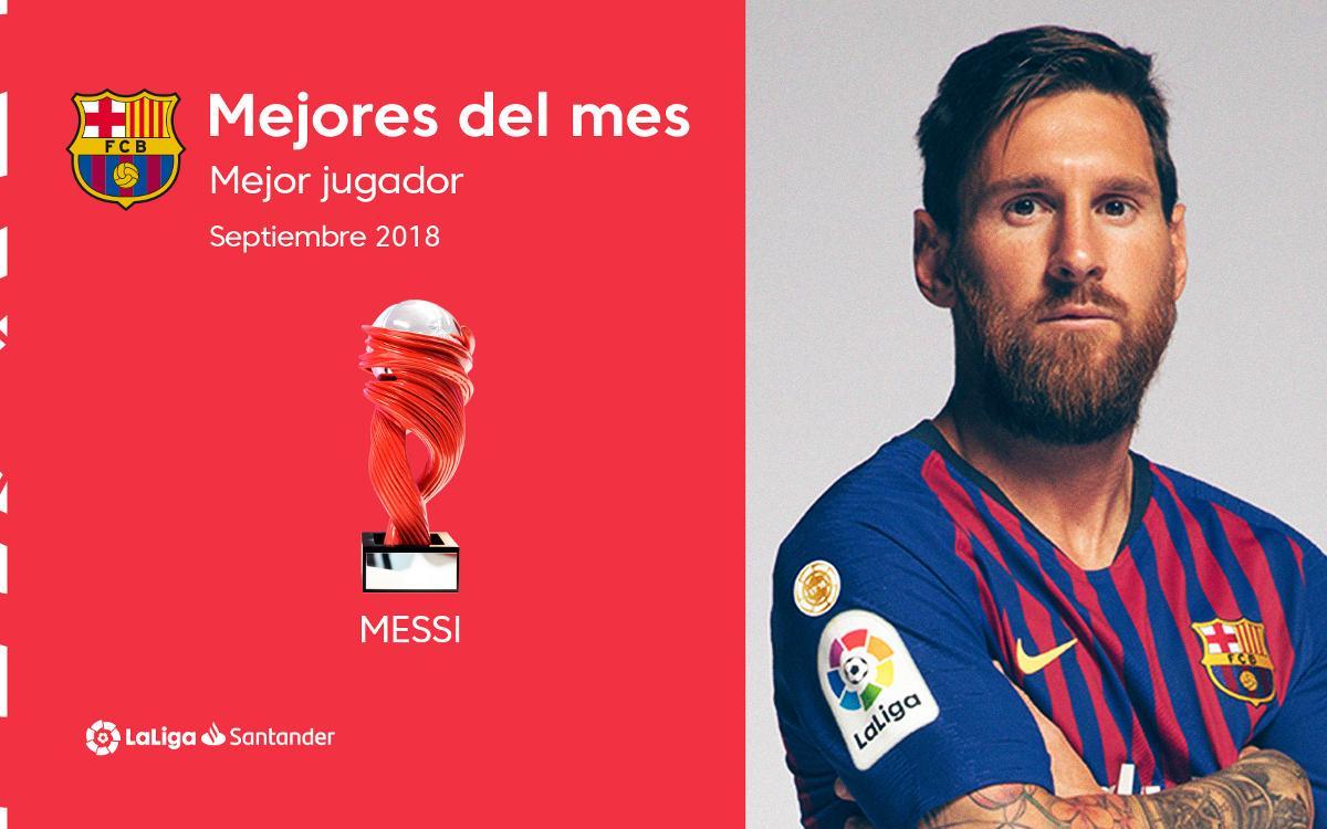 Lionel Messi, elegido mejor jugador de la Liga en el mes de septiembre