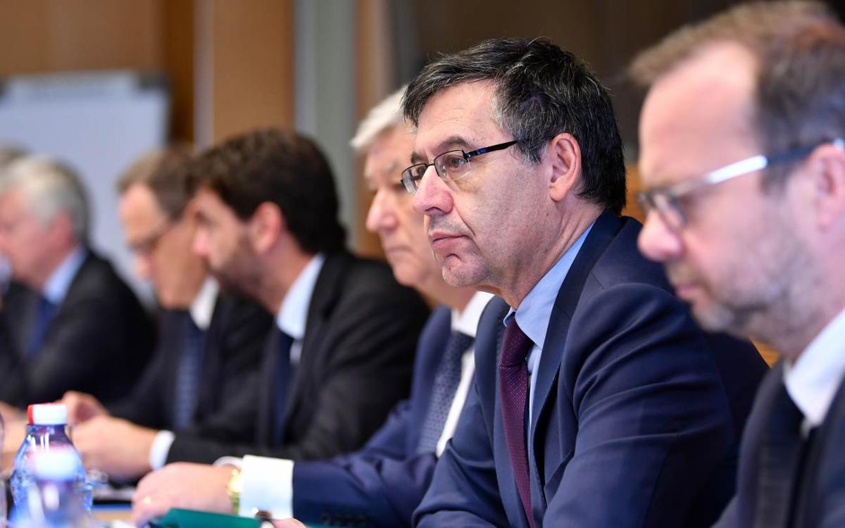 Josep Maria Bartomeu participa en una intensa jornada de reunions a la UEFA