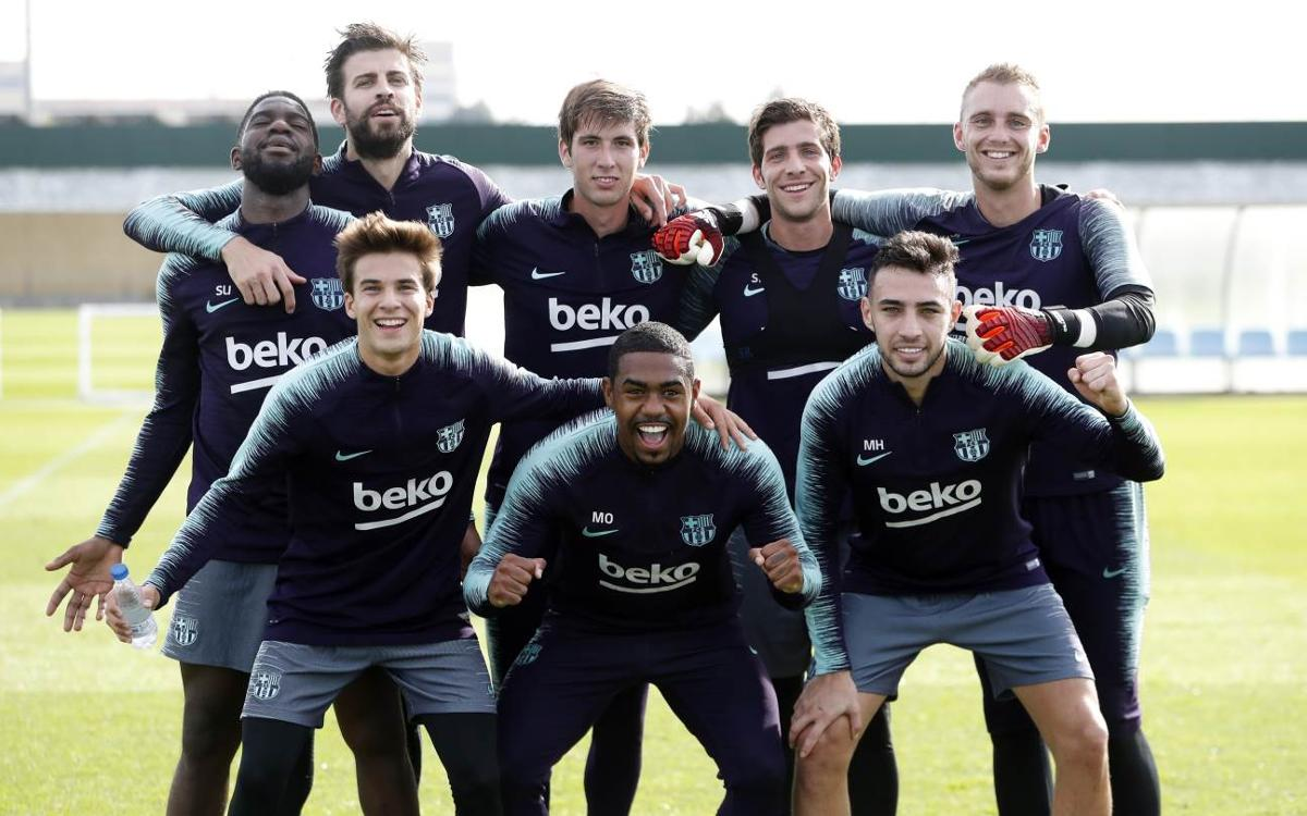 Sergio Busquets, Sergi Roberto and Jordi Alba, back in training