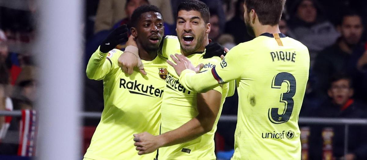 Dembélé, félicité par Suarez et Piqué après son but décisif sur la pelouse de l'Atlético de Madrid