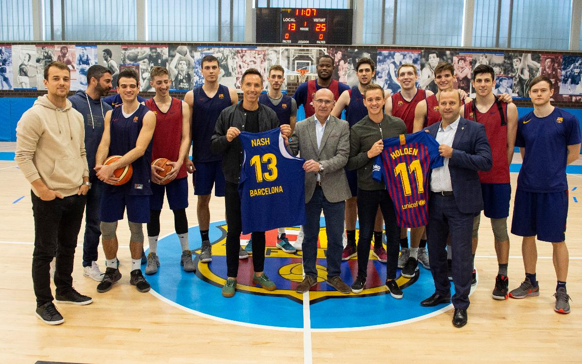 Steve Nash and Stu Holden visit Ciutat Esportiva Joan Gamper
