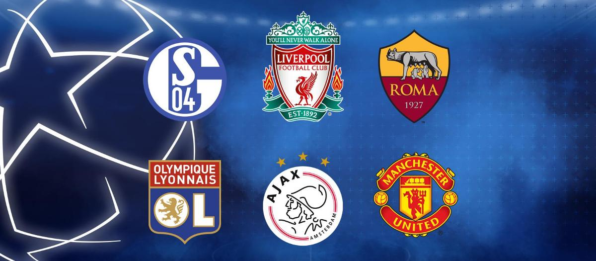 The six possible opponents in the Champions League Round of 16