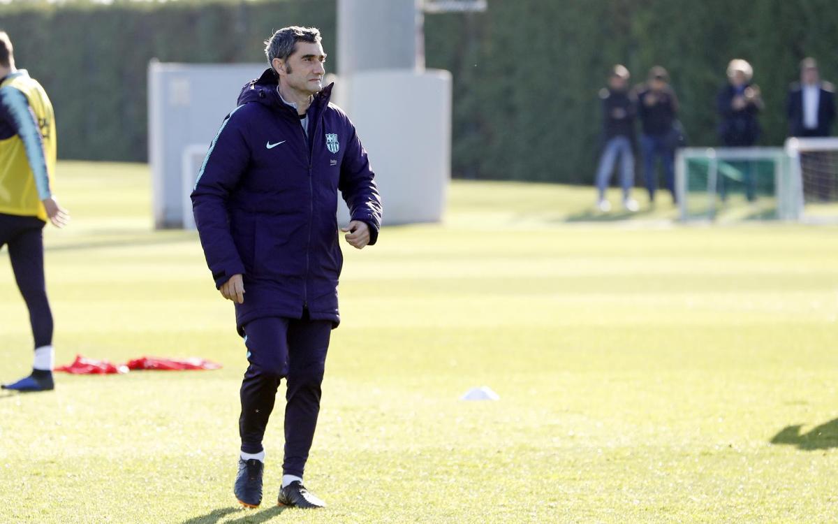 Valverde, durante un entrenamiento (Foto: FCB).