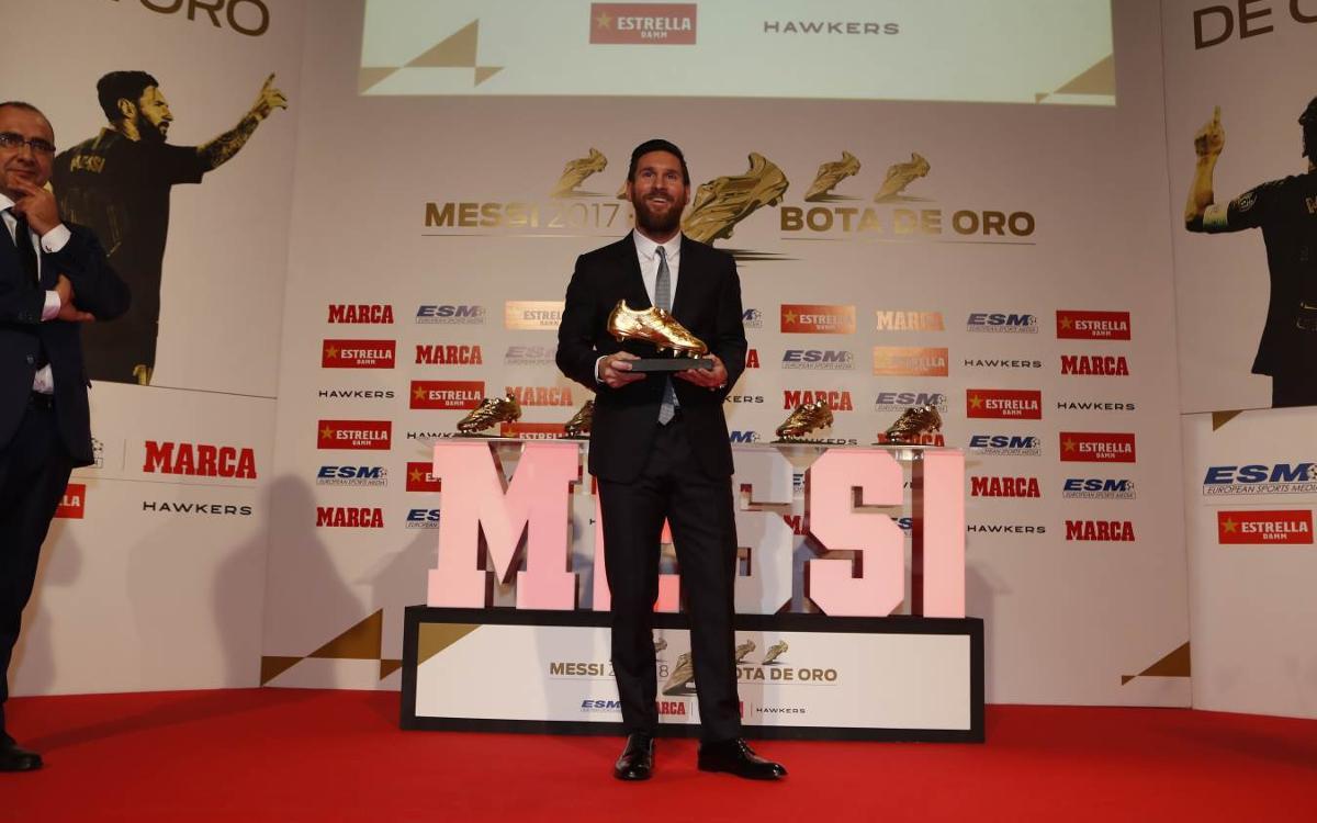 Leo Messi reçoit son 5ème Soulier d'Or Européen