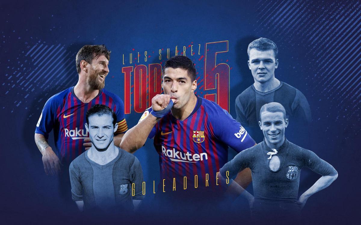 Suárez entra en el top 5 de goleadores de la historia del Barça