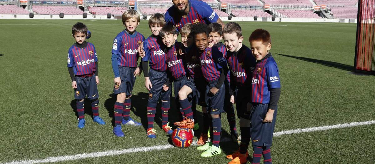 Kevin-Prince Boateng steps out on to the field at Camp Nou for the first time