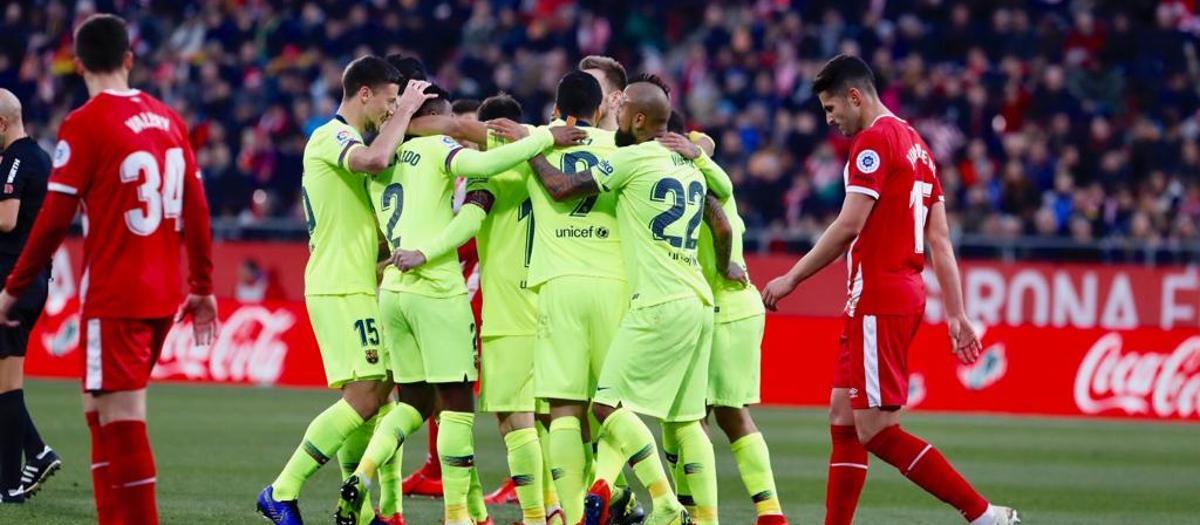 Pinya primer gol Girona - Barça