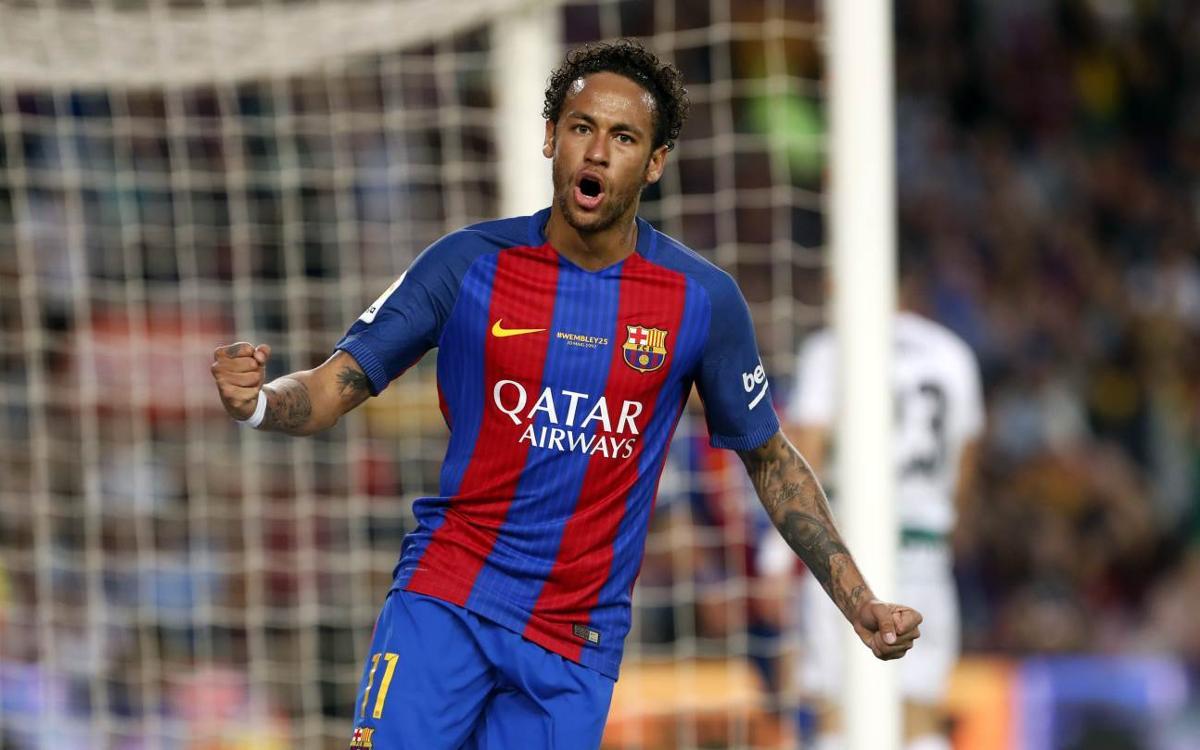 Neymar Jr, celebrando un gol con el Barça.