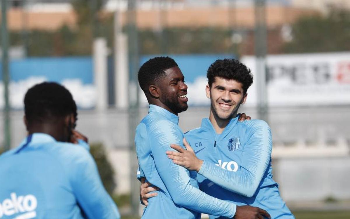 Umtiti joins squad for part of session