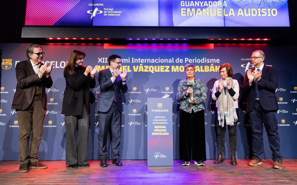 Emanuela Audisio rep el premi Vázquez Montalbán de periodisme esportiu