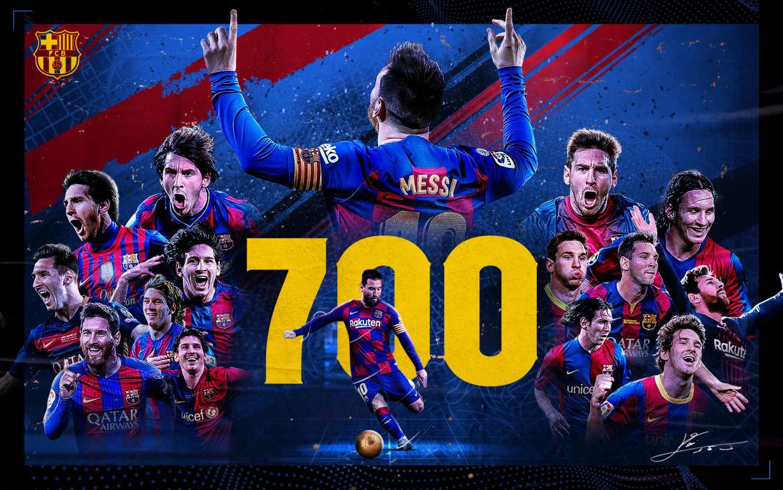 Messi cán mốc 700 trận cho Barça