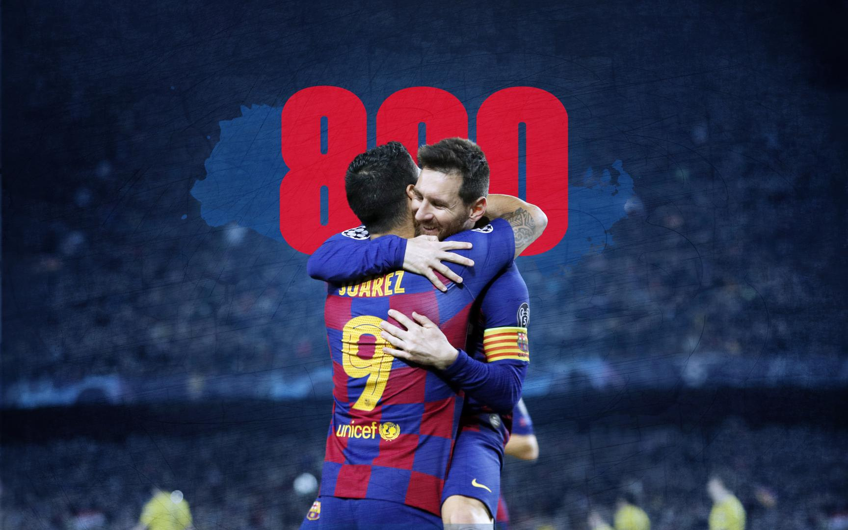 Messi + Suárez = 800